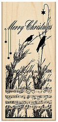 Merry CHRISTMAS Nature's Chior Wood Mounted Rubber Stamp PENNY BLACK 4394K New