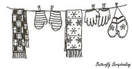 Mitten And Scarf Clothesline, Wood Mounted Rubber Stamp NORTHWOODS - NEW, O9681