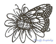 Monarch Butterfly Flower Wood Mounted Rubber Stamp Northwoods Rubber Stamp New