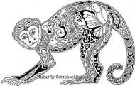 MONKEY Animal Spirit Cling Unmounted Rubber Stamp EARTH ART Sue Coccia New