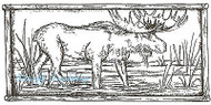 Moose In Wood Frame Wood Mounted Rubber Stamp Northwoods Rubber Stamp New
