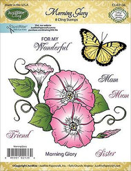 MORNING GLORY Stamp Set Cling Unmounted Rubber Stamps by JustRight CL-02136 NEW