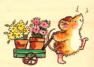 Mouse Wagon SCENTED GARDEN Wood Mounted Rubber Stamp PENNY BLACK 4133J New