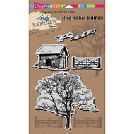 Nature Barn And Tree, Cling-style Unmounted Stamp Set STAMPENDOUS - NEW, ASCRS01