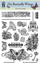 ON BUTTERFLY WINGS 16 Stamp Set Clear Unmounted Rubber Stamps Set HOTP 1145 New