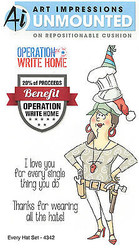 Operation Write Home Hat Set Cling Unmounted Rubber Stamps Art Impressions NEW