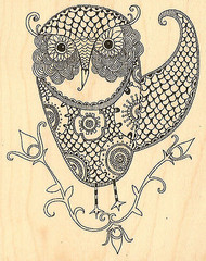 Owl Bird Fancy Wood Mounted Rubber Stamp Hannah Davies Impression Obsession NEW