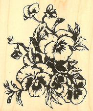 Pansies Flowers Wood Mounted Rubber Stamp Impression Obsession Gail Green New