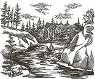 Peaceful River, Wood Mounted Rubber Stamp NORTHWOODS - NEW, P1616