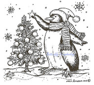 Penguin Christmas Tree Wood Mounted Rubber Stamp Northwoods Rubber Stamp New