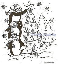 Penguins Decorating Tree, Wood Mounted Rubber Stamp NORTHWOODS - NEW, M8239