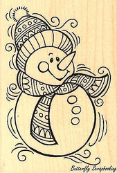 PenPattern Snowman, Wood Mounted Rubber Stamp STAMPENDOUS, NEW - P240