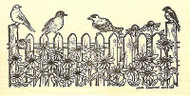 Picket Fence With Birds, Wood Mounted Rubber Stamp NORTHWOODS - NEW, O9768