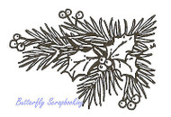 Pine Branch Holly Corner Wood Mounted Rubber Stamp NORTHWOODS E2904 New