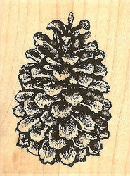 Pinecone, Wood Mounted Rubber Stamp IMPRESSION OBSESSION - NEW, C4448