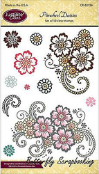 PINWHEEL DAISY Stamp Set Clear Unmounted Rubber Stamps by JustRight CR-02196 NEW