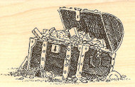 Pirate Treasure Chest Wood Mounted Rubber Stamp Impression Obsession D1607 NEW