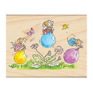 Play Date Mice, Wood Mounted Rubber Stamp PENNY BLACK- NEW, 4143K