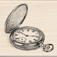 POCKET WATCH Wood Mounted Rubber Stamp INKADINKADO 60-00725 New