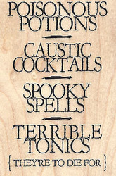Poisonous Potions To Die For Wood Mounted Rubber Stamp IMPRESSION OBSESSION New