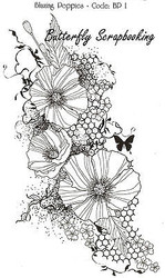 Poppies Flowers Mixed Media Cling Unmounted Rubber Stamp IndigoBlu Stamp BP1 NEW