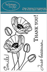 POPPIES FLOWERS Stamp Set Clear Unmounted Rubber Stamps TECHNIQUE TUESDAY New
