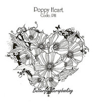 Poppy Flower Heart Mixed Media Cling Unmounted Rubber Stamp IndigoBlu Stamp NEW