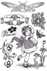 PRINCESS Collection Cling Unmounted Rubber Stamps Set Prima Inc. 951078 New