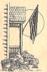 Proch with USA Flag Scene Wood Mounted Rubber Stamp Impression Obsession NEW