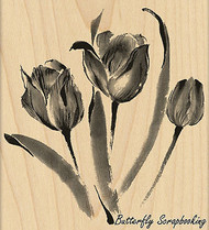 Promise Me Flower, Wood Mounted Rubber Stamp PENNY BLACK - NEW, 4384K