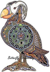 PUFFIN BIRD Animal Spirit Cling Unmounted Rubber Stamp EARTH ART Sue Coccia New