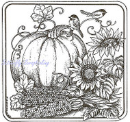 Pumpkin & Chickadees Square, Wood Mounted Rubber Stamp NORTHWOODS - NEW, PP9189