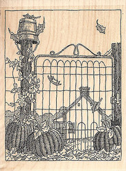 Pumpkin Gate Wood Mounted Rubber Stamp IMPRESSION OBSESSION Fall Autumn Leaf New