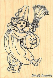Pumpkin Ride Halloween Costume, Wood Mounted Rubber Stamp STAMPENDOUS, NEW- P229