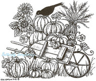 Pumpkin Wheelbarrow & Crow Wood Mounted Rubber Stamp Northwoods Rubber Stamp New
