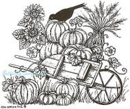 Pumpkin Wheelbarrow & Crow Wood Mounted Rubber Stamp Northwoods Rubber Stamp New