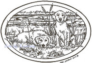 Puppy Dogs & Cattails Oval Wood Mounted Rubber Stamp NORTHWOODS P7364 New