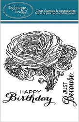 RANUNCULUS FLOWERS Stamp Set Clear Unmounted Rubber Stamps TECHNIQUE TUESDAY New