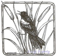 Red Winged Black Bird Square Wood Mounted Rubber Stamp NORTHWOODS - PP8538 New