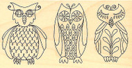Retro Owls Birds Leigh Hannan Wood Mounted Rubber Stamp Impression Obsession NEW