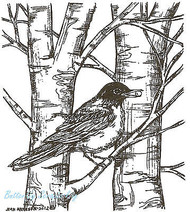 Robin On Bare Branches, Wood Mounted Rubber Stamp NORTHWOODS - NEW, M8896