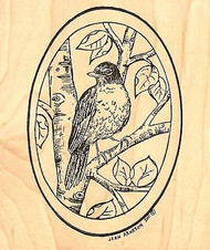Robin On Tree Oval, Wood Mounted Rubber Stamp NORTHWOODS - NEW, P7982