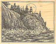 ROCKY CLIFF LIGHTHOUSE Wood Mounted Rubber Stamp Impression Obsession H1985 NEW