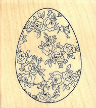Rose Egg, Wood Mounted Rubber Stamp IMPRESSION OBSESSION - NEW, C9665