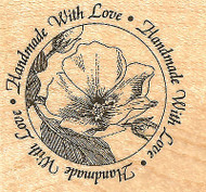 Rose Flower Circle Saying Wood Mounted Rubber Stamp Impression Obsession NEW