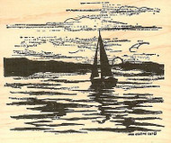 Sailboat Silhouette In Sunset, Wood Mounted Rubber Stamp NORTHWOODS - NEW, P9795