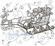 Santa Sleigh With Reindeer Christmas Wood Mounted Rubber Stamp NORTHWOODS- P1853