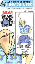 Shake Your Booty Disco Walter Cling Unmounted Rubber Stamps Art Impressions NEW
