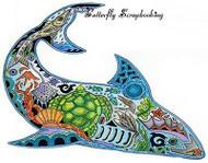 SHARK Animal Spirit Unmounted Rubber Stamp EARTH ART Sue Coccia New