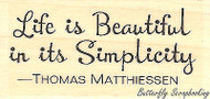 Simplicity Text, Wood Mounted Rubber Stamp IMPRESSION OBSESSION - NEW, B11106